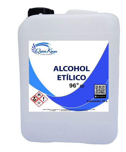 alcohol etílico 96 grados, 10 litros quimiklean