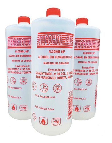 alcohol etilico puro 96° g.l 1 litro caja con 6