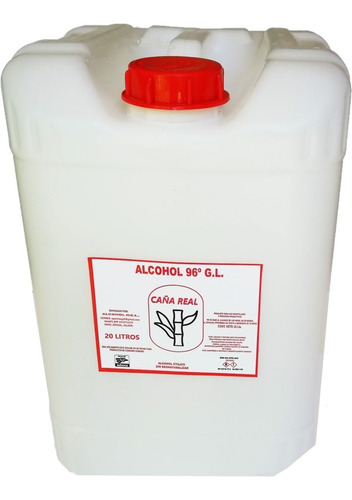 alcohol- grado 96° puro de caña, etílico  de caña 20 litros.