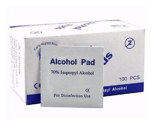 alcohol pad - caja con 100 sobres - desinfeccion vendas gasa