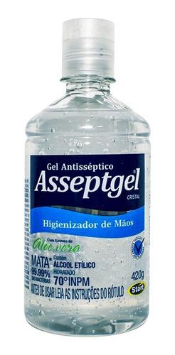 álcool em gel asseptgel cristal 420g com aloe vera start