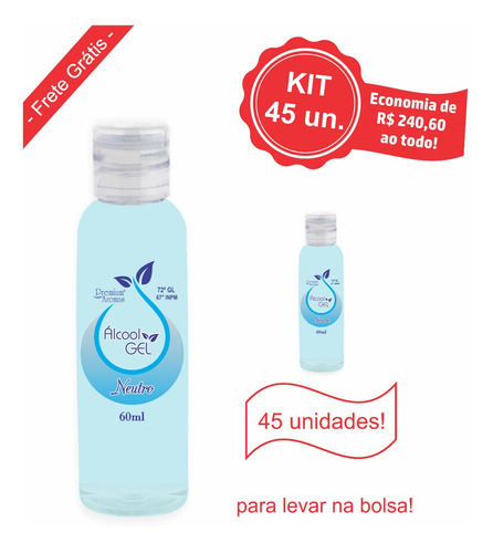 alcool gel 60ml - kit 45 unid.