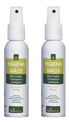 alcool gel 70 higiena live aloe vera de bolso kit com 2