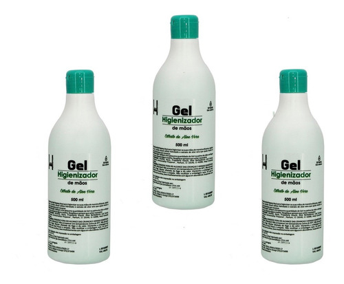alcool gel 70 higienizador de mãos 3 uni 500 ml selo anvisa