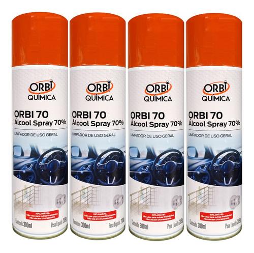 alcool spray 70% limpa e higieniza 300ml - 4 unidades