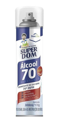 álcool spray antisséptico 70% super dom 300ml dom line