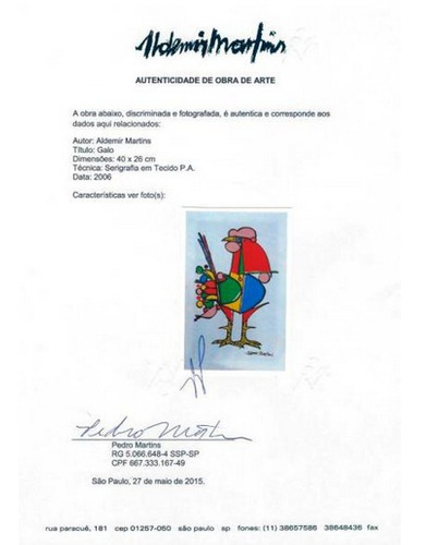 aldemir martins - galo - serigrafia em tecido - p.a