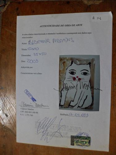 aldemir martins -gato  acrílico s/ papel  ( q01 )
