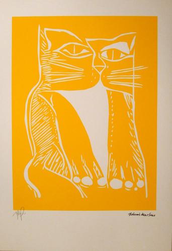 aldemir martins - gato amarelo gravura exclusiva - raridade