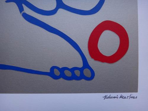 aldemir martins - gato - composição em azul, vermelho, prata