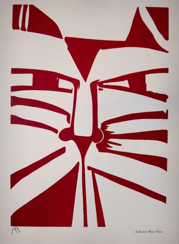 aldemir martins - gato vermelho estilizado -linda serigrafia