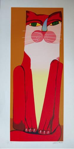 aldemir martins - gato vermelho - serigrafia linda e enorme!