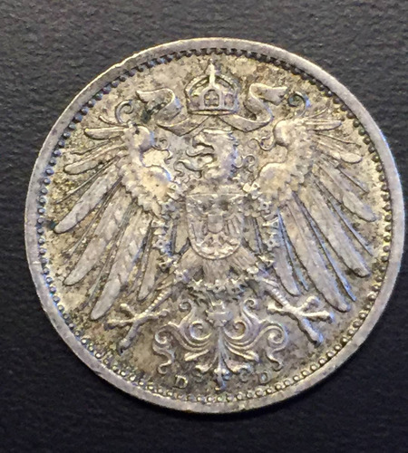 ale279 moneda alemania imperio 1 mark 1915 d xf+ plata ayff