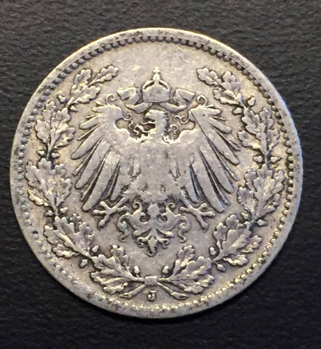 ale286 moneda alemania imperio 1/2 mark 1905 j vf plata ayff