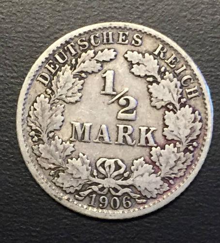 ale291 alemania imperio 1/2 mark 1906 j f-vf plata ayff