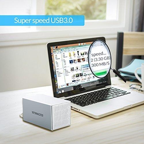 Plata Yottamaster Aleaci/ón de Aluminio 4 Bah/ía 3.5 Pulgadas USB3.0 Raid External HDD Recinto SATA3.0 Soporte 4 x 10TB y UASP