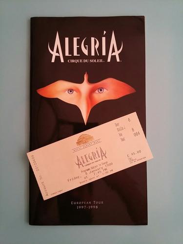 alegría cirque du soleil programa lujo londres 1999 +entrada