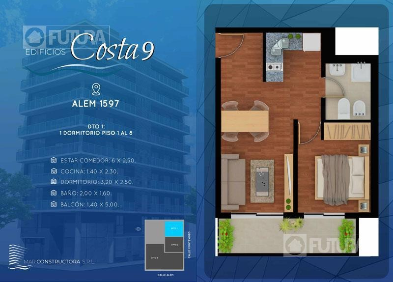 alem 1597 u03/03 - departamento en venta de 2 dormitorios - barrio martin, rosario.