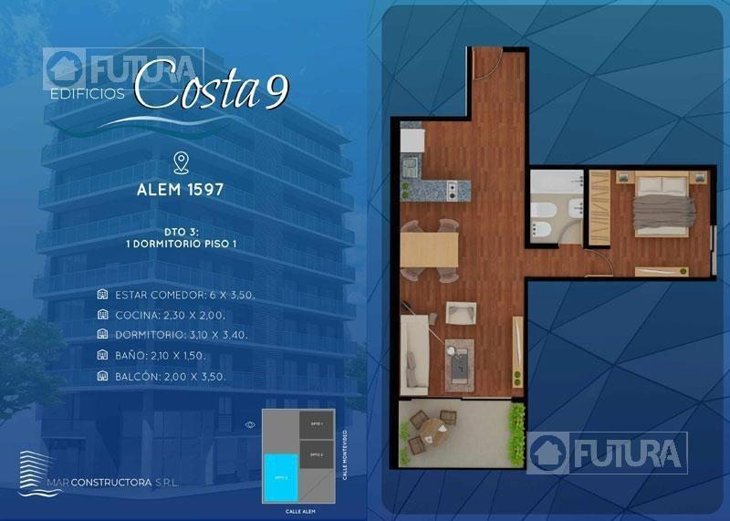 alem 1597 u04/01 - departamento en venta de 1 dormitorio - barrio martin, rosario.