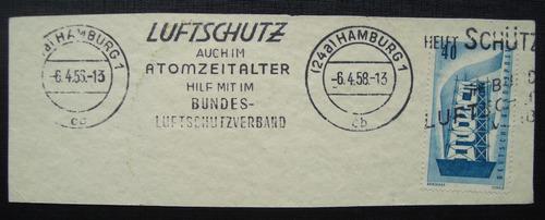 alemanha 1 selo carimbo 1958, hamburg luftschutz