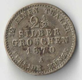 Alemanha 2 1/2 Silbergroschen 1870 Prata 3 15g Ø21 2 Sku1343