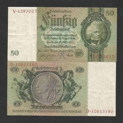 alemanha 50 r. marcos 1933 p. 182a sob cédula - tchequito