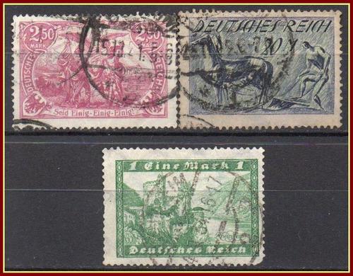 alemanha - weimar - acumulação com 3 selos - 1920 a 1924
