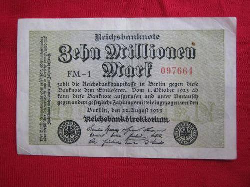 alemania 10 millones de  marcos 1923