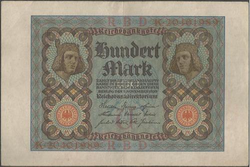 alemania, 100 mark 1 nov 1920 p69b 8 dig