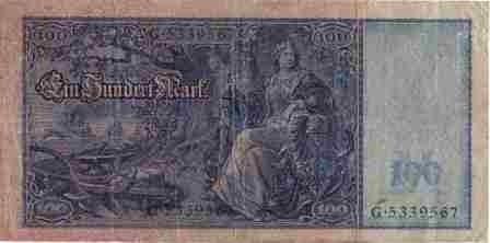 alemania 100 mark 21 abr 1910 p43 sello verde