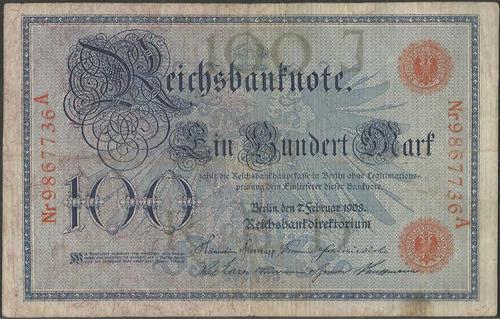 alemania 100 mark 7 feb 1908 p33a sello rojo
