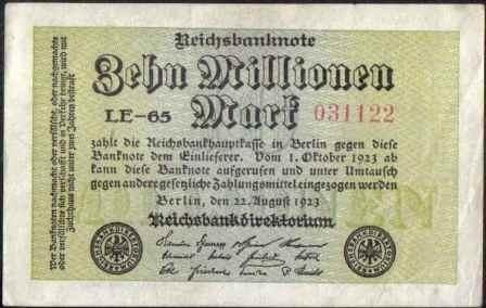 alemania, 10000000 mark 22 ago 1923 p106a