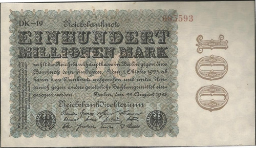 alemania, 100000000 mark 22 ago 1923 p107e