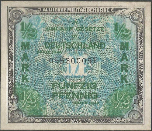 alemania 1/2 mark 1944 p191a