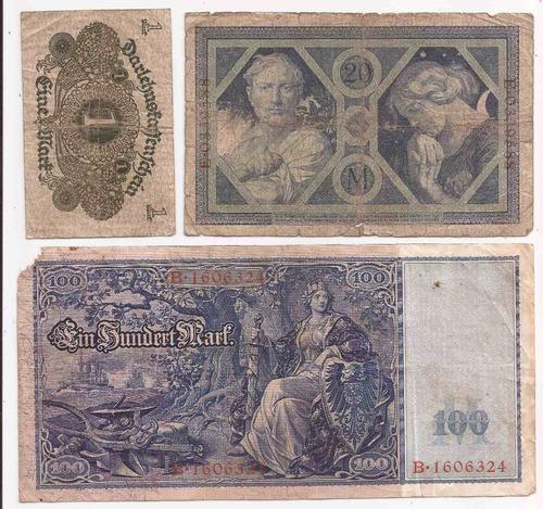 alemania 1908 tres billetes 1, 20 y 100 marcos usados