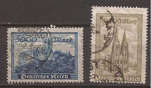 alemania 1923 catedral y castillo 2 sellos usados 7 u$d -112