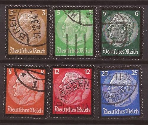 alemania 1934 serie memoria hindenburg 6 sellos