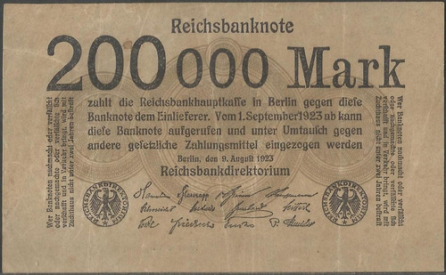 alemania 200000 mark 9 ago 1923 p100
