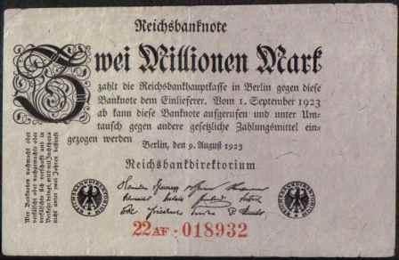 alemania 2000000 mark 9 ago 1923 p104a