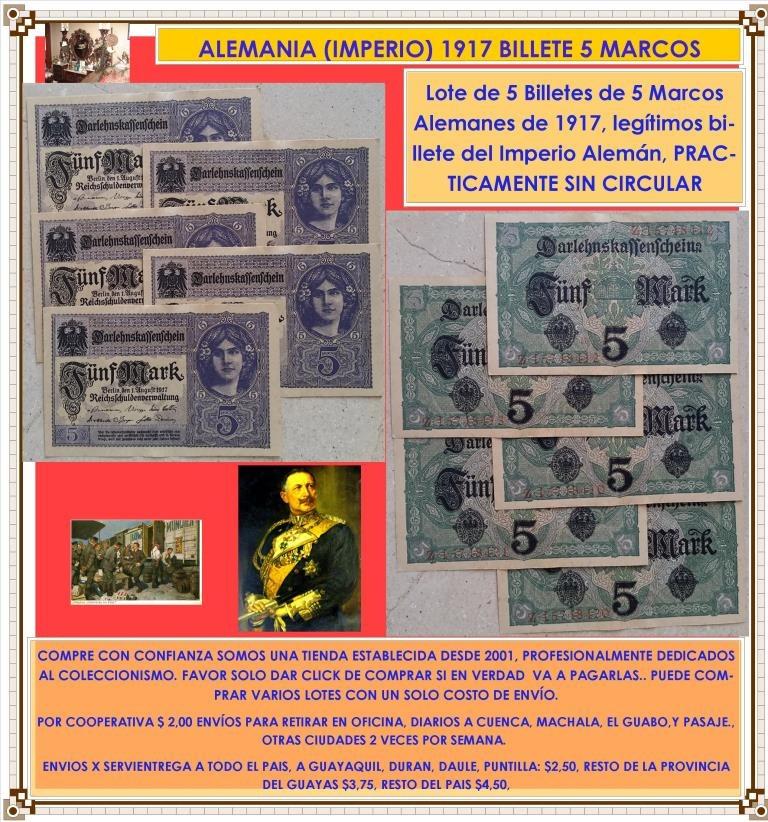 Alemania 5 Marcos 1917 Imperio Aleman Lote Billetes Original - U$S 9 ...