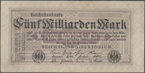 alemania, 5 millardos mark 20 oct 1923 p123b