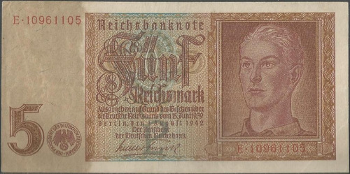 alemania 5 reichsmark 1 ago 1942 p186a