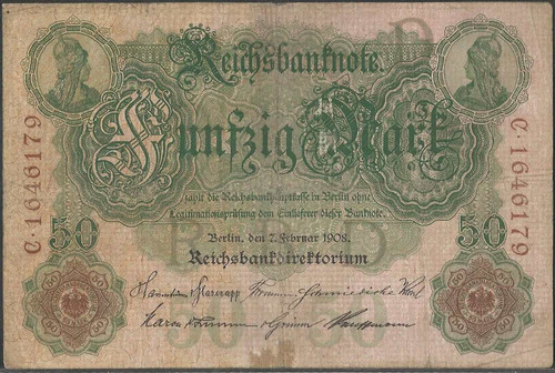 alemania, 50 mark 7 feb 1908 p32