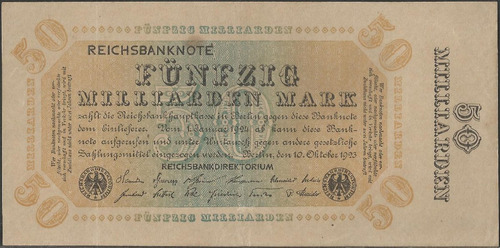 alemania, 50 millardos mark 10 oct 1923 p119c
