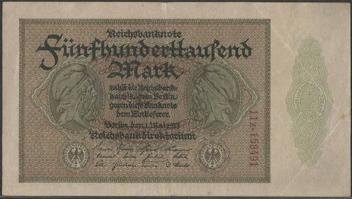 alemania, 500000 mark 1 may 1923 p88b