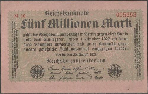 alemania 5000000 mark 20 ago 1923 p105