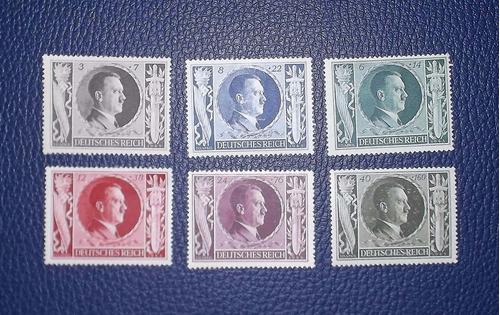 alemania, 6 sellos nazi - 1943 -  (cumpleaños 54 hitler)