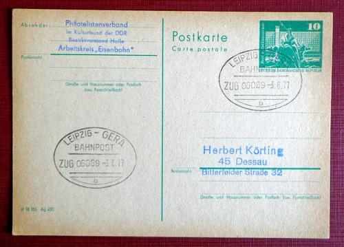 alemania ddr, tarjeta matasello ambulante trenes 1977 l8089