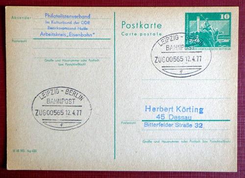 alemania ddr, tarjeta matasello ambulante trenes 1977 l8092
