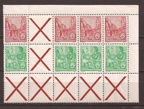 alemania democrática 1953 - 8 sellos con complementos 18 u$d